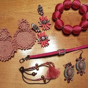 Lot of 6 pink earrings and bracelets Baublebar